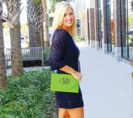 Monogrammed Green Convertible Envelope Purse