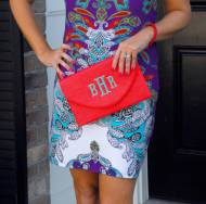 Monogrammed Coral Convertible Envelope Purse