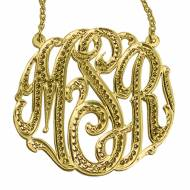 Monogrammed Rhodium Cut Pendant On A Split Chain From The Pink ...