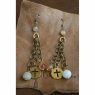 Brass Cross, Coin, Agate Bead And Peruvian Opal Earrings
