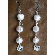 Freshwater Pearl And Sterling Silver Heart Charm Earrings