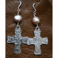 Sterling Silver Cross And Freshwater Pearl Earrings