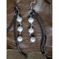 Leather And Freshwater Pearl Earrings