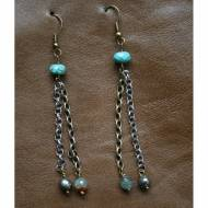 Brass And Silver Earrings With Beads Of Turquoise, Agate And Pearl