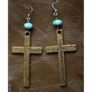 Brass Cross And Turquoise Earrings