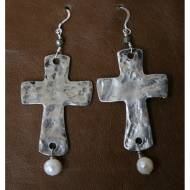 Freshwater Pearl And Sterling Silver Cross Earrings