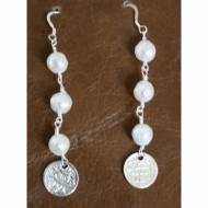 Freshwater Pearl Earrings With Silver Antique Coin