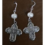 Silver Cross Earrings With Pearl