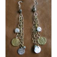 Metallica Earrings With Pyrite And Antique Coin Charms