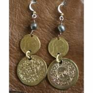 Pyrite Earrings With Brass And Silver Coins