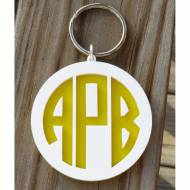 Monogram Layered Circle Font Keychain
