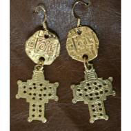 Coin And Cross Brass Earrings