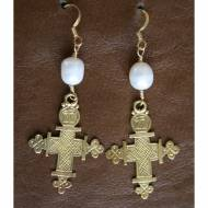 Brass Cross And Freshwater Pearl Earrings