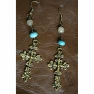 Brass Cross Earrings With Quartz And Turquoise