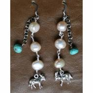 Silver Donkey Charm Earrings With Citrine And Pearls