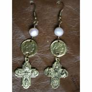 Brass Earrings With Cross, Coin And Pearl