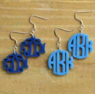 Monogrammed Vine Or Circle Font Acrylic Earrings