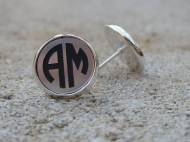 Engraved Monogram Acrylic Color Circle Font Stud Post Earrings