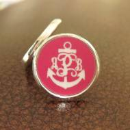 Engraved Monogram Anchor Acrylic Color Earrings In Lever Back Or Post