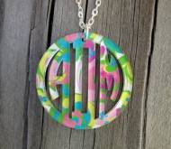 Bordered Monogrammed Vine Script Acrylic Pendant Necklace