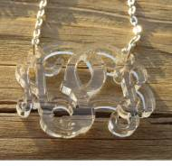 Acrylic Monogram Floating Vine Script Necklace In All Colors