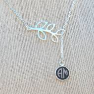 Monogram Engraved Acrylic Color Circle Font Branch Necklace