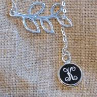 Monogram Engraved Acrylic Color Vine Script Branch Necklace