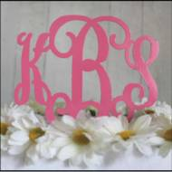Metal Three Letter Monogram Cake Topper Or Plant Spike