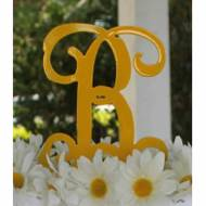 Metal Single Letter Monogram Cake Topper Or Plant Spike