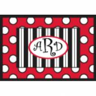 Personalized Red Black And White Stripes And Dots Door Mat