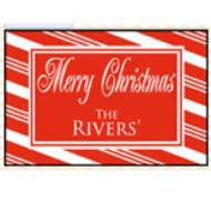 Personalized Candy Cane Door Mat With Red And White Stripes