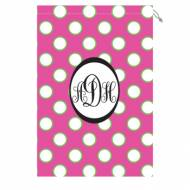 Monogram Laundry Bag With Pink, White And Green Polka Dots