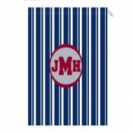 Monogram Laundry Bag With Navy And White Stripes For Him