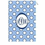 Monogrammed Laundry Bag With Light Blue And White Polka Dots