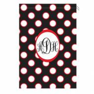Monogram Laundry Bag With Georgia Black White And Red Polka Dots