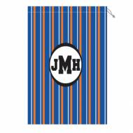 Monogram Laundry Bag With Florida Orange And Blue Stripes