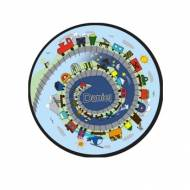Childs Round Personalized Needlepoint Rug With Train