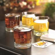 Monogrammed Football Lowball Pub Set
