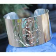 Wide Engraved Cuff Bracelet In Sterling Silver Or Gold