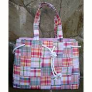 Monogrammed Preppy Plaid Rope Trim Large Tote Bag