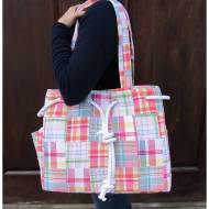 Monogrammed Preppy Plaid Rope Trim Tote Bag