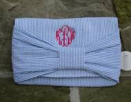 Monogrammed Preppy Seersucker Bow Clutch
