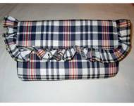 Monogrammed Preppy Plaid Ruffled Clutch