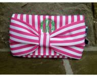 Monogrammed Preppy Canvas Bow Clutch