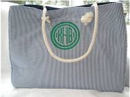 Monogrammed Canvas Striped Large Tote