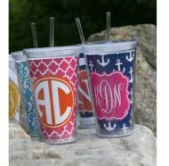Monogrammed Acrylic Tumblers With Straw
