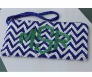 Monogrammed Chevron Beaded Wristlet Bag In 8 Colors