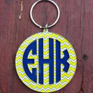 Monogrammed Acrylic Circle Font And Chevron Pattern Keychain