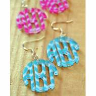 Monogram Circle Earrings In Chevron Pattern