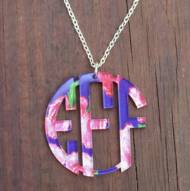 Monogram Custom Cut Circle Necklace In Francesca Joy Pattern